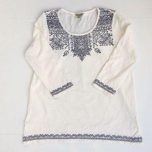 Lucky Brand Blackwork Embroidery Knit Top sz XL